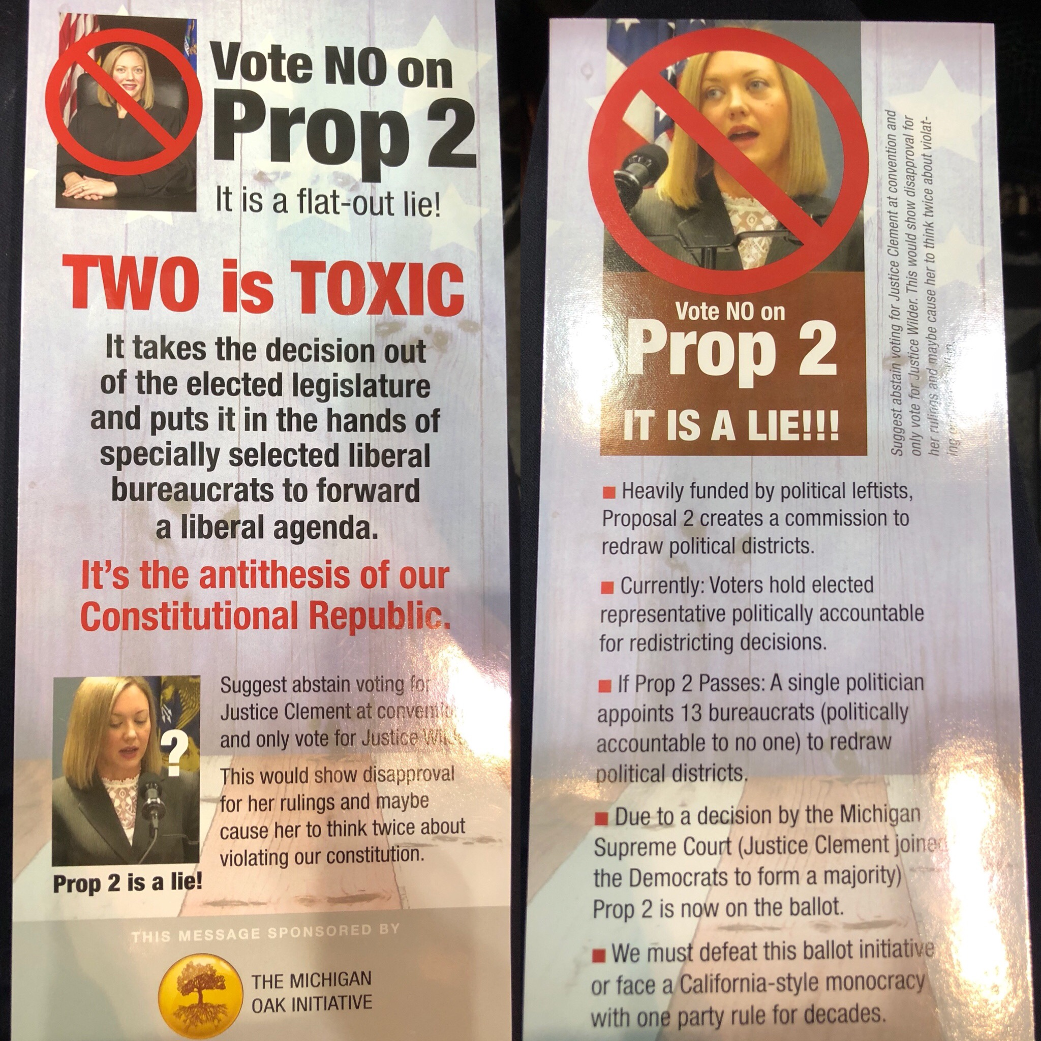 A flyer opposing the Voters Not Politicians initiative