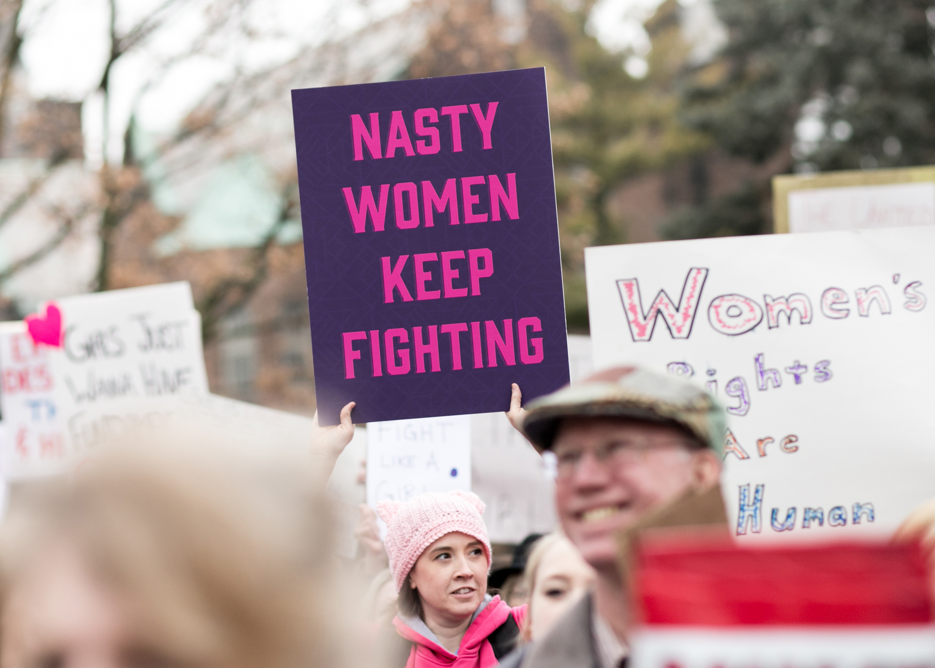 Lisa King at the Women's March in Lansing