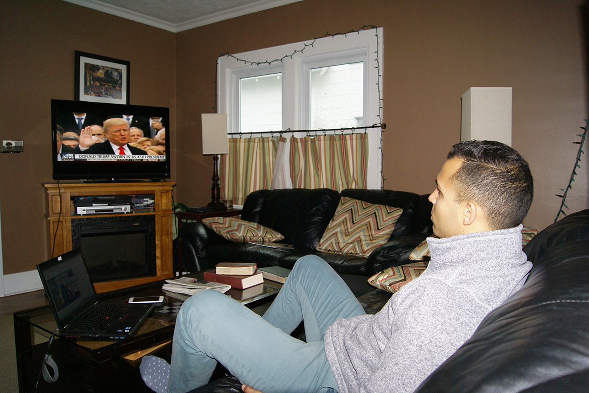 Ron Price watches inauguration