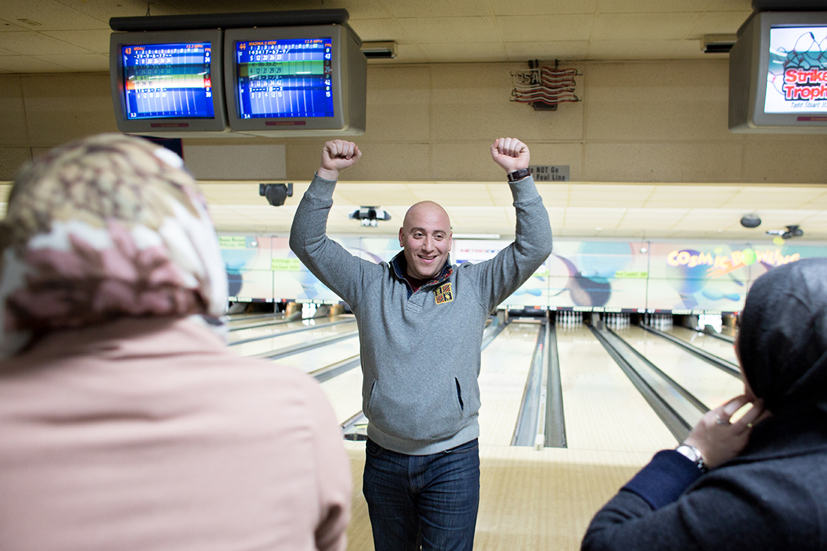 Hussein Charara of Dearborn celebrates picking up a spare at Cherry Hill Lanes in Dearborn Heights.