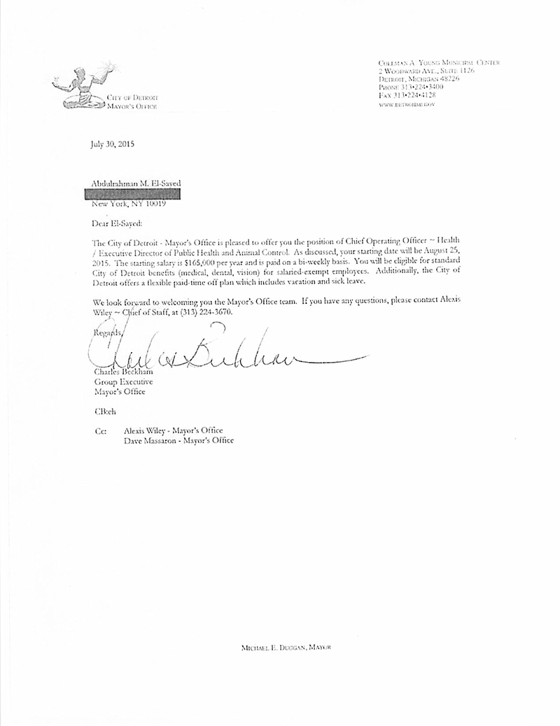 Abdul el sayeds stint in nyc may derail bid for michigan governor this is a copy of detroit mayor mike duggans job offer to abdul el sayed in 2015 the letter which bridge magazine obtained through the state freedom of 1betcityfo Images