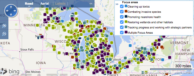 Great Lakes Restoration Map