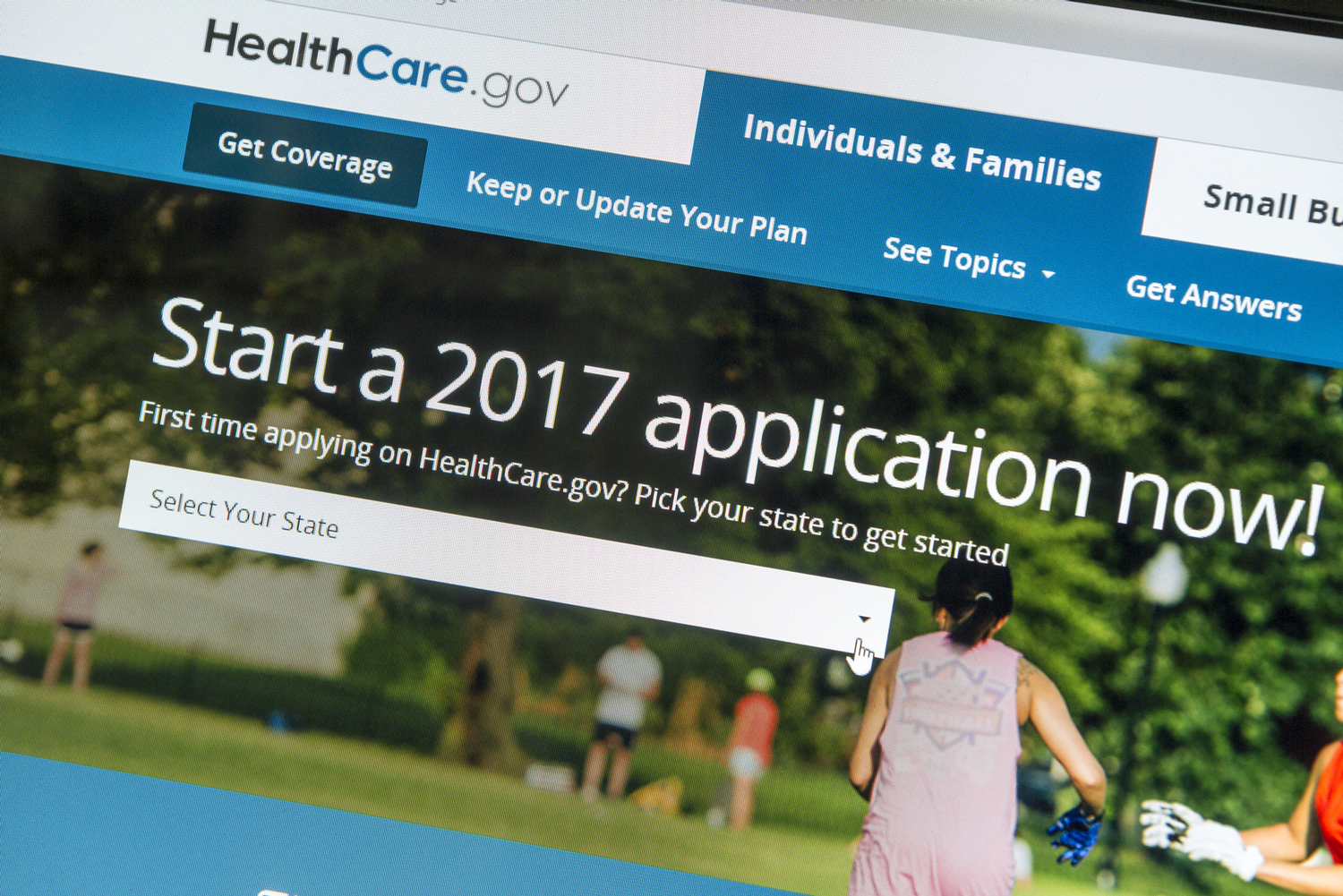 Affordable Care Act sign up screen through Healthcare.gov