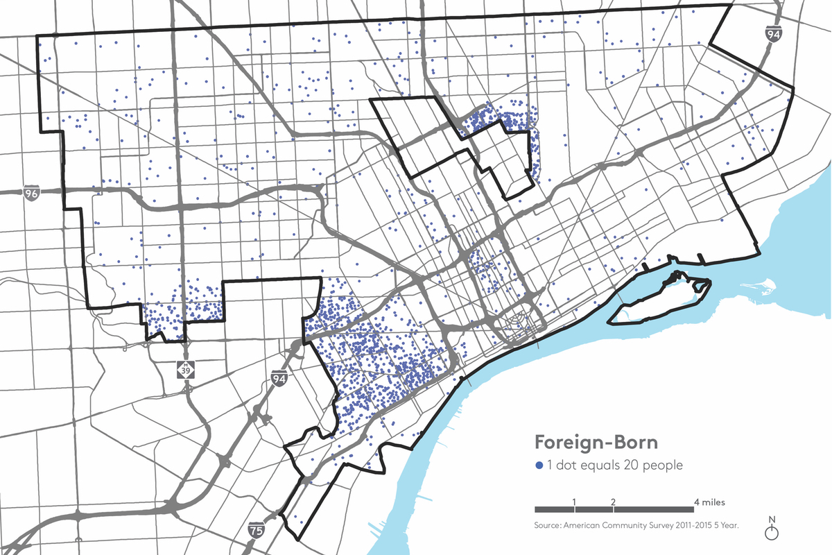detroit foreign born map