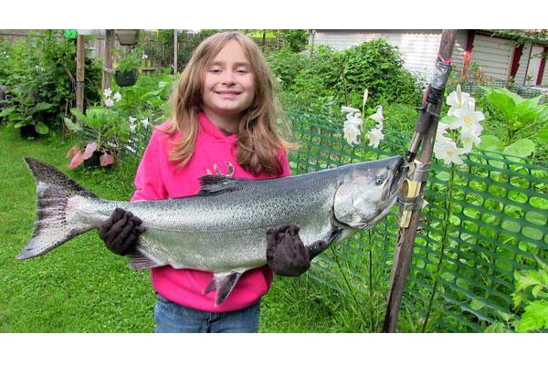 Sasha Wheeler holding a 40-inch king salmon