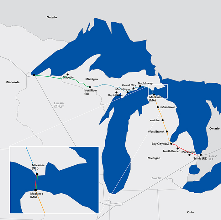 Full Line 5 map — from Superior, Wisconsin to Sarnia, Ontario