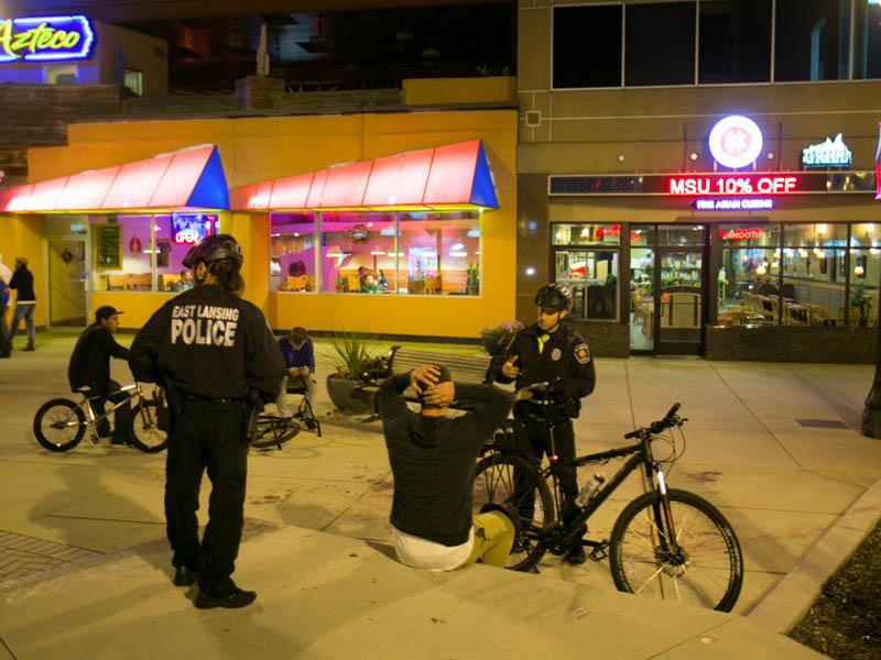 Police interaction at MSU at night