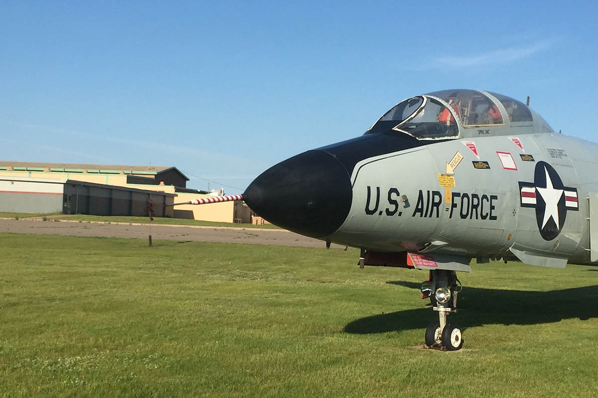 An Air Force plane on the lawn of the K.I. Sawyer Heritage Air Museum