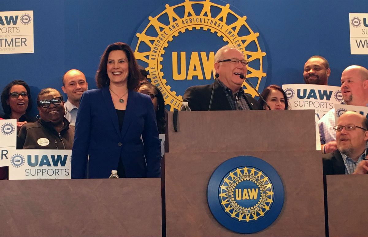 Gretchen Whitmer and UAW president Dennis Williams