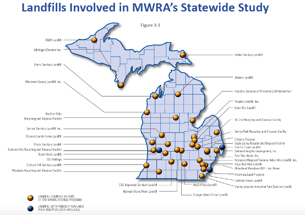 Michigan landfills are a small source for PFAS in waterways