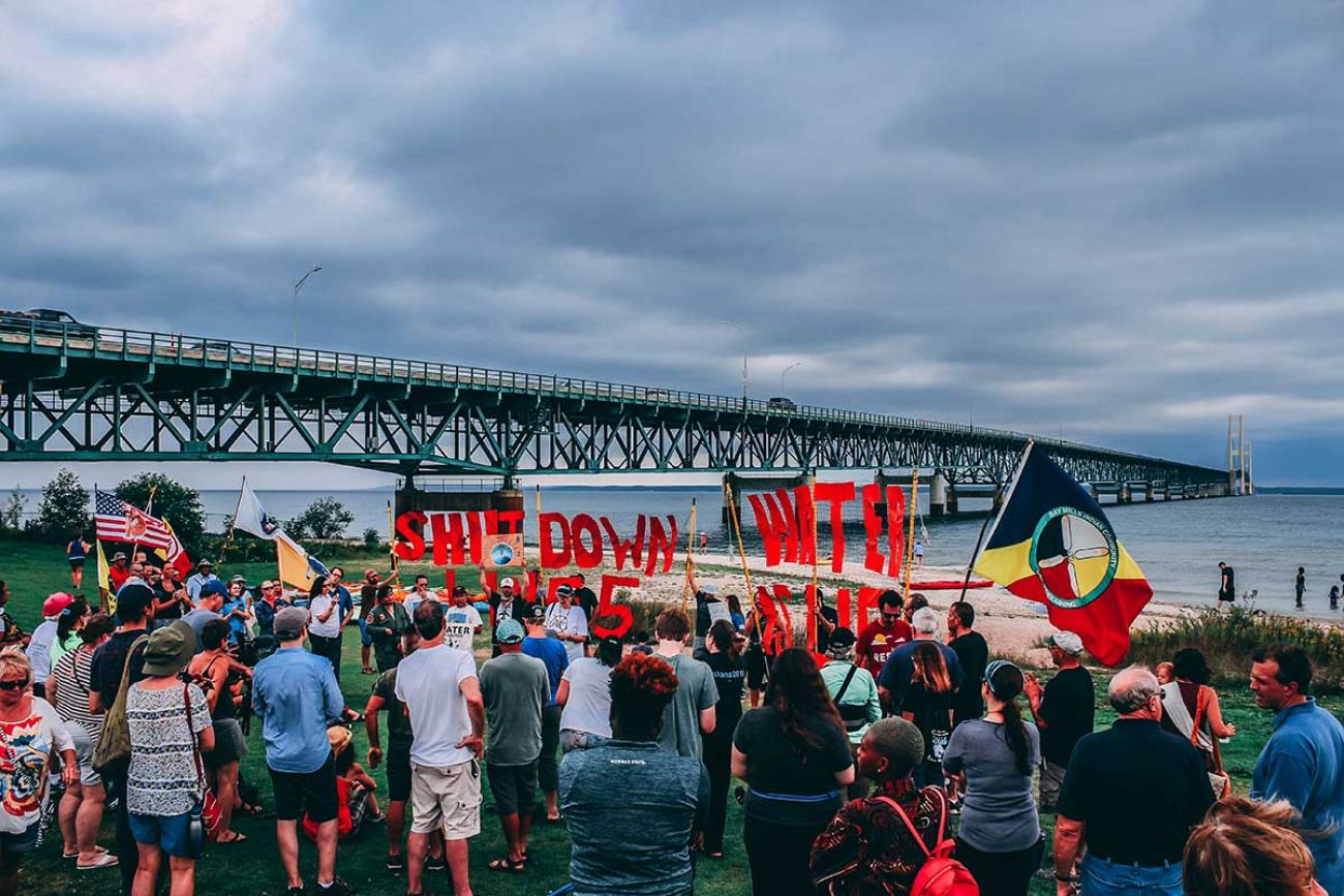 Demonstrators gather in Mackinaw City for a protest against the Line 5 pipeline