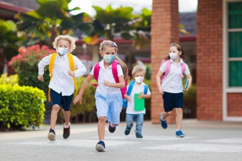 kids running with masks