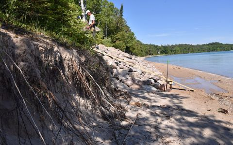 Michigan's coast is being armored with seawalls, making erosion worse