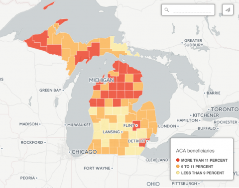 map of Michigan counties most vulnerable if Obamacare is repealed