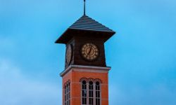 A clock tower at Grand Valley State University